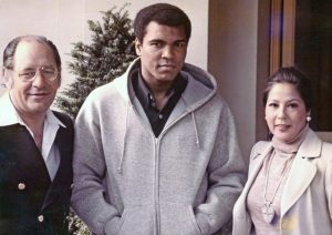 Ferdie Pacheco with Muhammad Ali and Dr. Pacheco's wife, Luisita Pacheco, in 1977