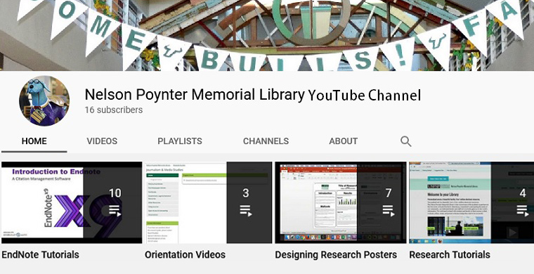 Image displays the welcome page for the USF Libraries - St. Petersburg Campus Youtube Channel